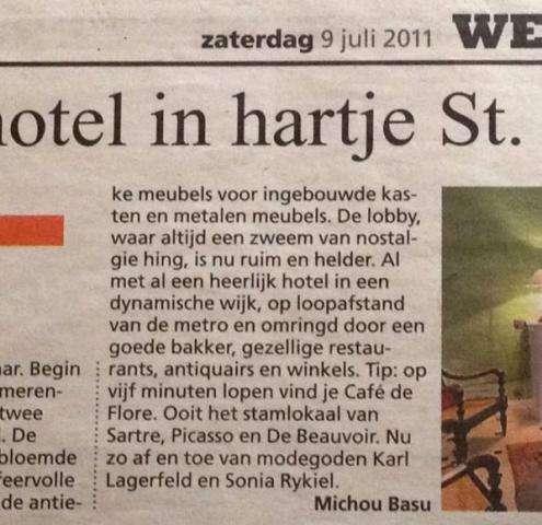 Hotel Danube Paris in De Telegraaf